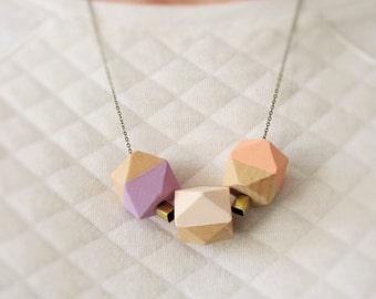 Necklace/wooden beads / brass link necklace/gold/antique bronze/pastel/spring/geometric/angular/wooden beads