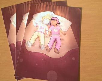 A5 bubblegum and marzipan sleeping print comic book original characters digital artwork