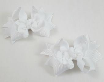 White Mini Hair Bows-Set of 2/Hair Accessories/Little Girl Hair Bow/Toddler Hair Bow/Pig Tail Bows/Accessory/White Hair Bow/Stack Hair Bow