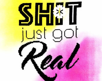 Sh*t just got real // Inspirational cross stitch PDF chart - Instant digital download// Modern Design, Typography, Crafty Gift, Wedding gift