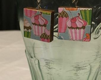 Cupcake Scrabble Tile Earrings