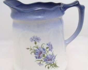 Vintage Blue Jug with floral motiv from 'The Reme Collection', 17cm tall