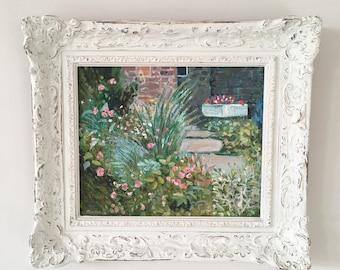Vintage cottage garden oil painting, original signed art with ornate distressed frame.
