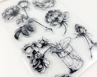 Clear stamp set acrylic silicone stamp Rose Rosen wedding flowers leaves vase flower love floral scrapbooking scrapbook clear stamps