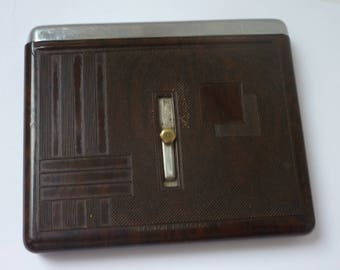 Art Deco Bakelite Cigarette Vesta case Slide open Lid