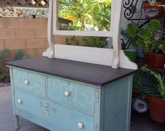 Shabby Chic Dresser with Mirror, Distressed Chalk Paint Wood Dresser,Wood Vanity, Low Dresser with Mirror, Bedroom Decor, PICK UP ONLY