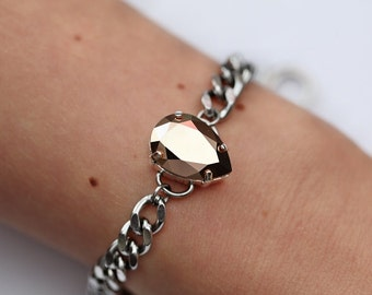Rose Gold Mirror Crystal Pear Bracelets / Swarovski Crystal / Stainless Steel / Curb Chain / Stacking Bracelets / Arm Candy / Rose Gold