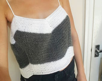 Womens crochet crop top / camisole top / stripy vest top / stripy camisole top / cropped camisole / chevron camisole / stripy crop top