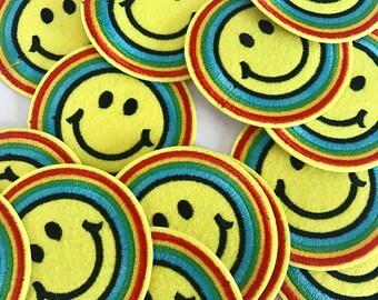 Rainbow Smiley Patch (1 stuk) - Iron on patch