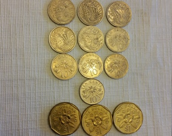 13 singapore vintage coins 1969 - 1993  / cents dollars coin lot - world foreign collector money numismatic a14