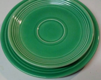 Set of Three Green Fiesta Ware Plates