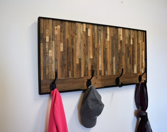 Reclaimed  Wood Wall Art with hooks