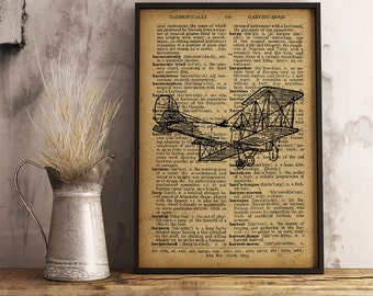 Aircraft Airplane Print, Dictionary Art Print, Aircraft decor vintage style, Pilot Gift, Aviator Gift,  Aviation art Antique Airplane (A05)