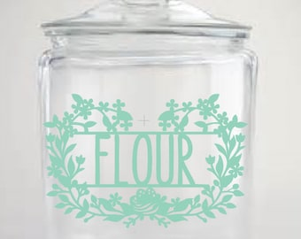 Flour Canister Label, Kitchen Organization Labels, Canister Decal, Storage Labels