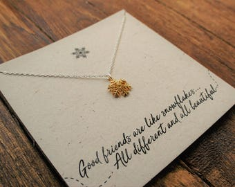"""Snowflake """"Good Friends Are Like Snowflakes.."""" Necklace// Sterling Siver"""