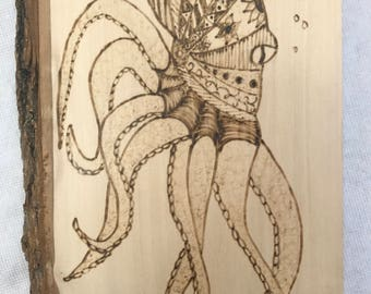 Octopus Woodburning