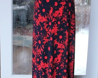 Red with Navy Blue Floral Maxi Skirt