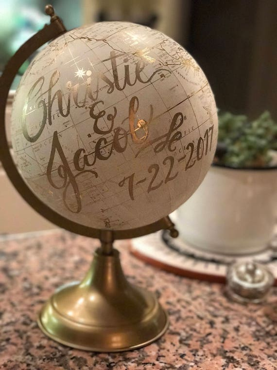 Custom Calligraphy Globe / Your Choice of Wording / White and Gold Calligraphy Globe / Custom Options / Wedding Guest Book/Nursery Globes