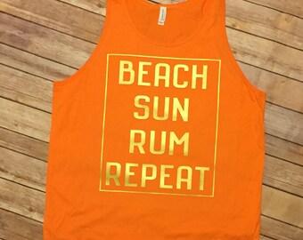 Beach Sun Rum Repeat Tank beach bum summer vacation tank top ocean salt life