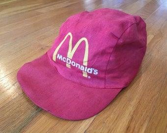 Vintage 1980's Mcdonald's Employee red painters cap hat ronald mcdonald mickey d's happy meal