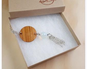 Wood Medallion, Long Necklace, boho necklace, reclaimed wood jewelry, long necklace, gypsy jewelry, hippie chic, upcycled necklace -WN001