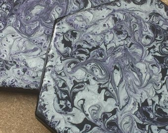 Purple & Silver Tile Coasters - Set of 2