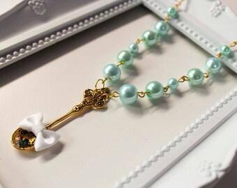 Sweet Spoon Necklace, Lolita cute kawaii ribbon lazo sweet dulce cuchara