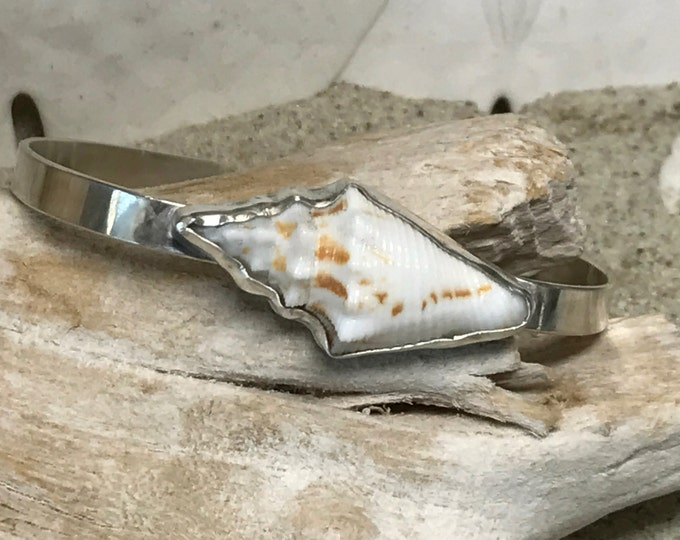 Sterling Silver Cuff Bracelet With Bezel Conch Shell