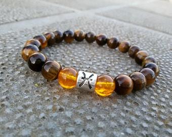 Tigers eye bracelet Gemini jewelry Tiger eye Citrine bracelet June Birthday gift