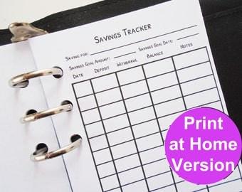 savings tracker - printable personal planner inserts - filofax personal inserts printable planner inserts personal size planner inserts