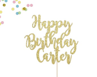 Personalized Happy Birthday Cake Topper   Custom Name Birthday Cake Topper   Happy Birthday Name Cake Topper   Birthday Party Decorations