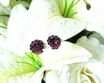 Vintage Earrings Clip On Purple Rhinestone Faux Diamond Amethyst Flower Floral Stud Cluster Costume Jewelry Gold Tone