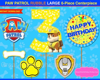 Lightning mcqueen party decorations - Paw Patrol Centerpiece Number 3 Marshall Paw Patrol Printable