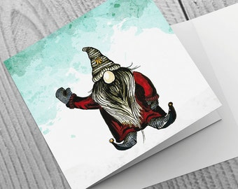 Pack of 6 Christmas Cards with Waving Tomte design - 148mm x 148mm [text options available]