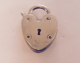 Heart lock sterling silver charm vintage # 101