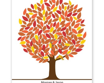 Leaf Tree Guest Book with birds - Fall Tree, Signature Mat Framed, Wedding Tree Guest Book, Wedding Guest Book Alternative