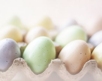 egg photography, kitchen wall art, Easter eggs, egg carton, pastel colours, mint green, pale yellow, pastel pink, kitchen photography