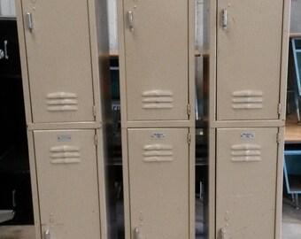 Vintage / Industrial Lockers, All Metal, Tan Color, Medart Brand, 2  Compartments