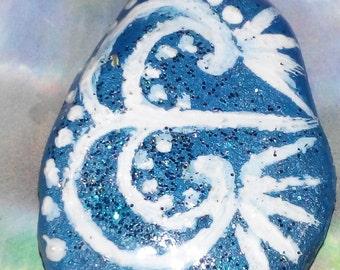 Hand painted Atlatins necklace pendant unique Goa hippie