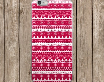 iPhone 5/5s/SE   iPhone 6/6s   iPhone 6 Plus/6s Plus   Red Christmas Pattern Design iPhone Case