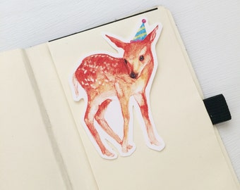 Party With Baby Deer Vinyl Stickers, Iphone Stickers, Ipad, Vinyl Sticker, Water Resistant Sticker, Baby Animals