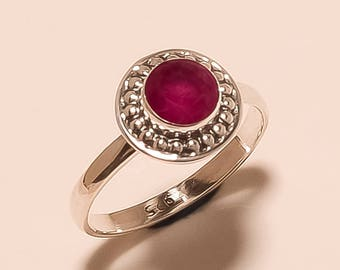 Red Ruby Fine Ring Ruby , Round Faceted Ring Sterling Silver Ring Ruby Gemstone Ring Silver Ruby Silver Ring  Red Ruby Ring Size 6.6 E-766