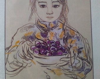 Chinese Embroidery: Girl holding grapes