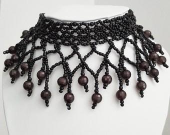 Jana - Black - Handmade - Beaded - Choker Necklace