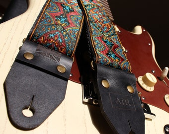 """The Limited Edition """"Kashmir"""" Air Guitar Strap, Woven, Thick Leather Ends, Personalisation, Custom Engraving and Logo Options"""