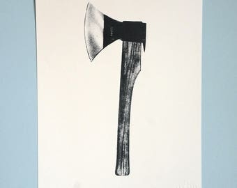Axe printing / acrylic on watercolor paper, A4