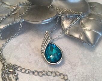Blue Cabochon Necklace, Pendant Necklace, Bright Blue Stone, Blue teardrop Stone Necklace, Faux Diamonds, Silver Chain, Blue Rhinestone