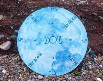 Dowsing board Pendulum board Handpainted Divination Blue Moon