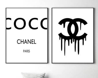 Coco chanel prints coco chanel logo coco chanel wall art fashion coco chanel posters coco chanel sign set of two cc make up room powder room