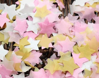 Gold Pink White Star Balloon Confetti for Wedding, Kids Birthday Party and New Baby Shower Decoration